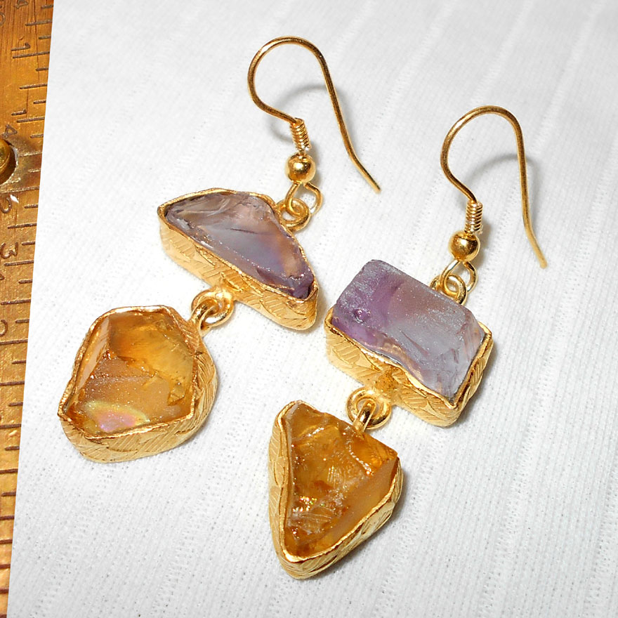 Citrine, Amethyst E - RBE998-Genuine semiprecious gemstone Earrings, jewelry wholesale