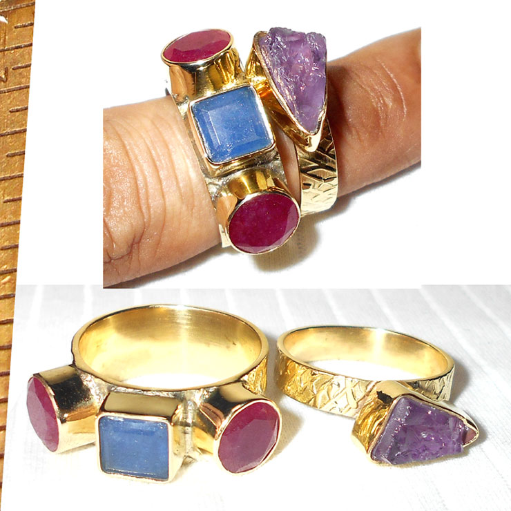 Blue sapphire-pink Ruby corundum, Amethyst O - STR990-Beautiful stacking Rings with  gemstone stud
