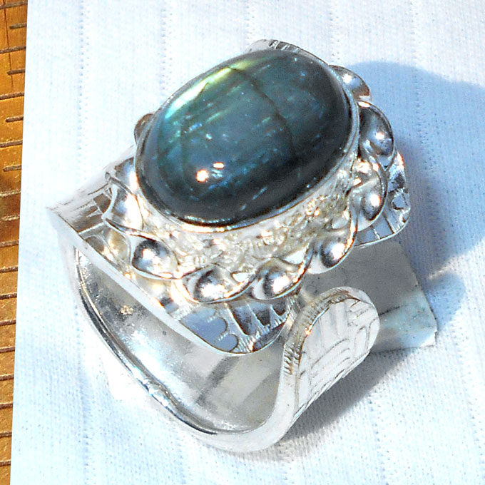 labradorite cab A - HR992- Wholesale silver plating Rings