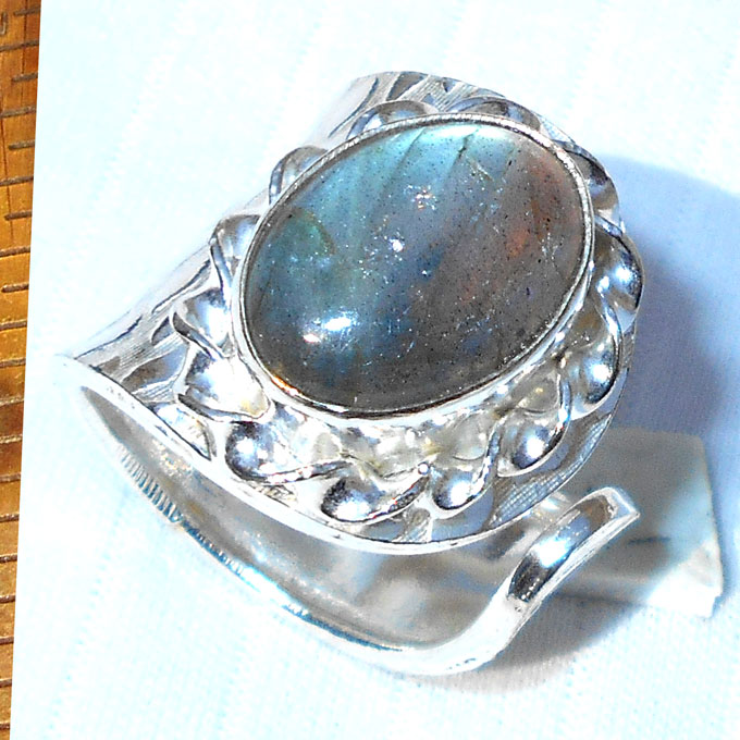 Labradorite cab O - HR991-Adjustable fashion Rings wholesale costume fashion Rings w