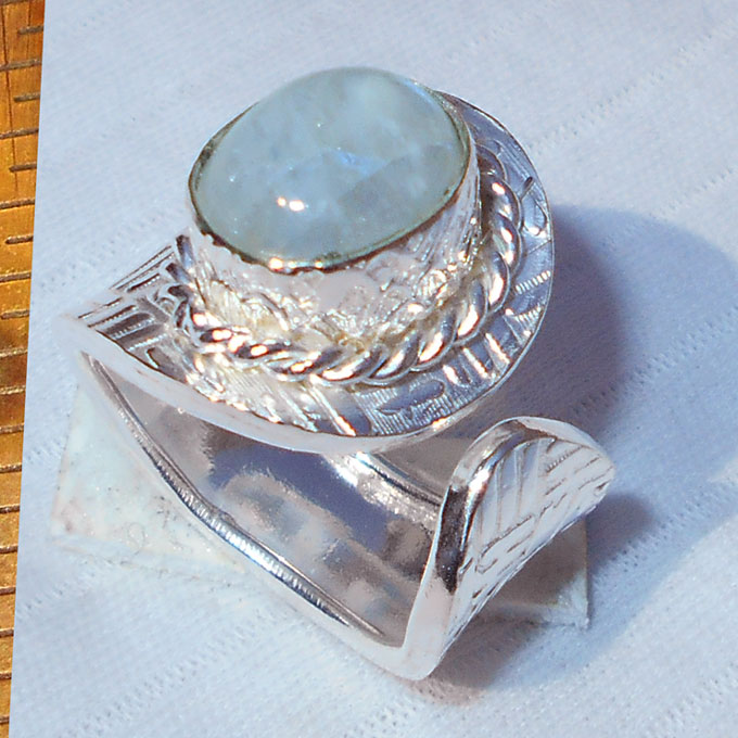 Rainbow moonstone cab B - HR984- Latest fashion Trend costume silver Plating Rings with br