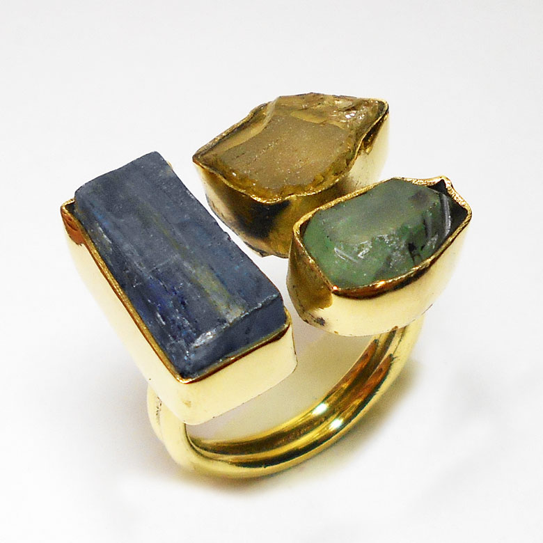 Kyanite, Green fluorite, Citrine H - RBR994- Chunky style fashion cluster Rings with Rough gemstone w
