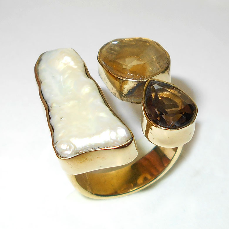 Biva pearl, Citrine, Smokey quartz A - RBR991-Ultimate fashion cluster designer gold plated Brass Rings