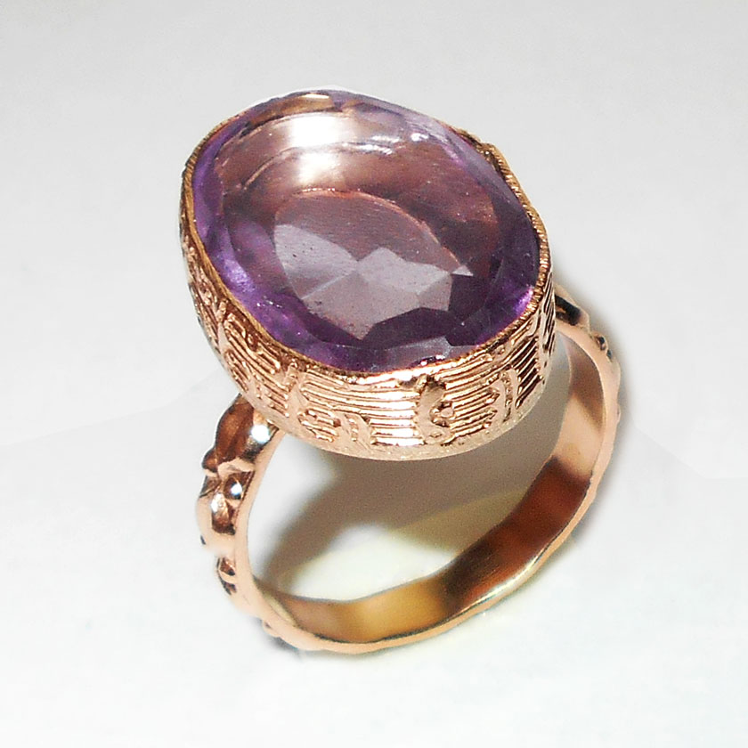 Amethyst cut F - GR992-Beautiful fashion Trend rose gold plating over brass Rings