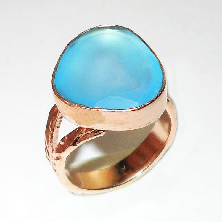 Blue chalcedony cut O - GR986-Latest fashion Costume designer Rings wholesale