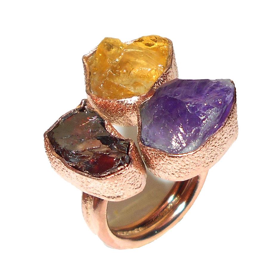 Citrine Amethyst Garnet O Chr997 Raw Gems With Bross Rings Wholesale