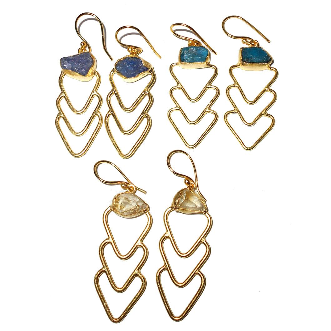 3 Pair Apatite, Tanzanite, Citrine-H - BVP972-Fashion Dangle Earrings, hanging costume fashion Earrings
