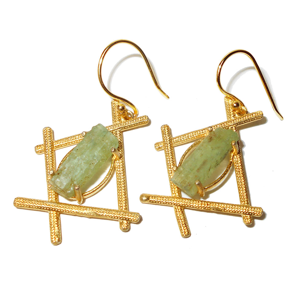 Green Kyanite E - RBE980- Rock style fashion Earrings with gold plated over Brass