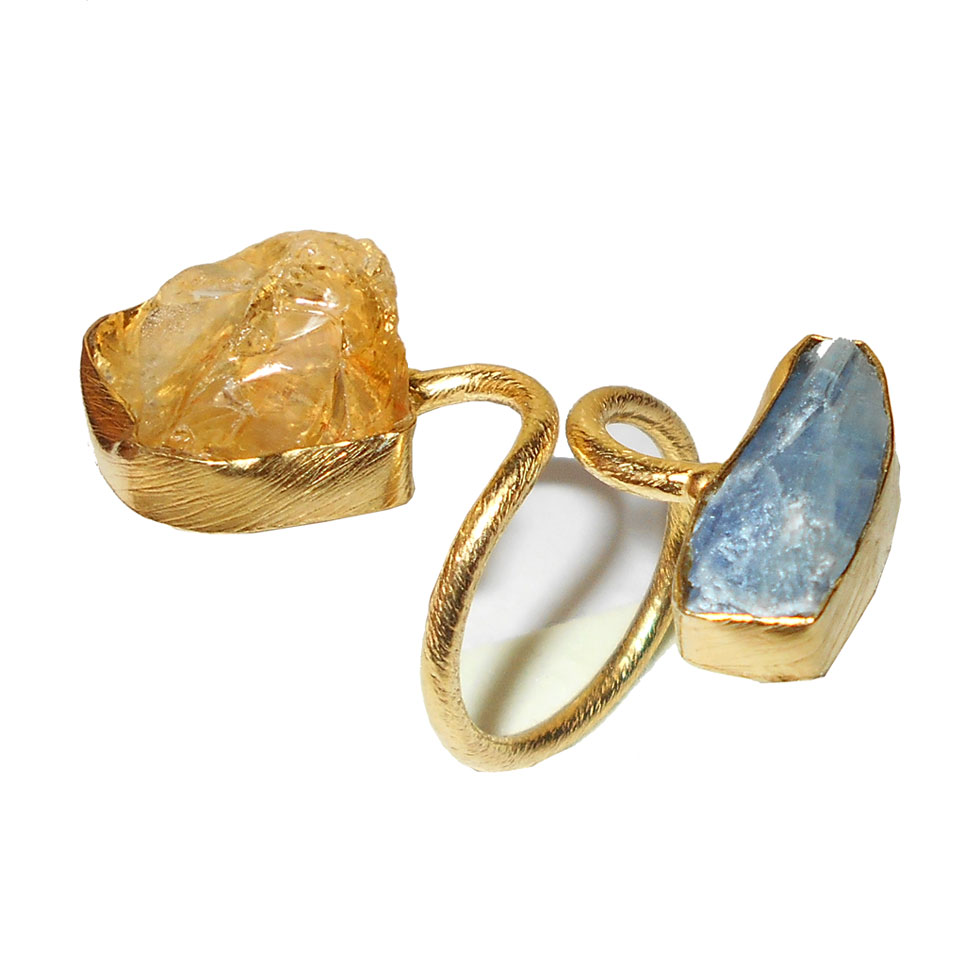 Blue kyanite & Citrine  O - RBR968- Raw gemstone Brass gold plated Rings wholesale collectio