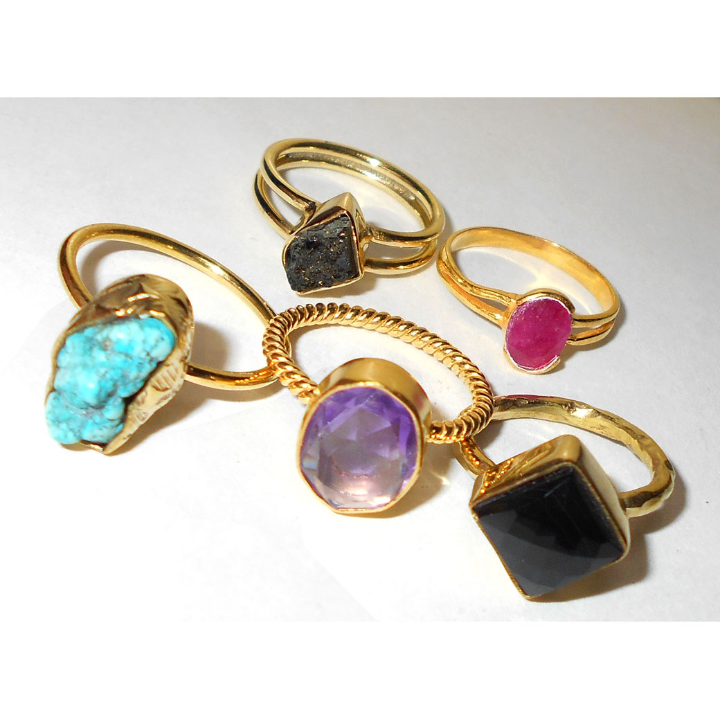 5 Pcs Mix stone A - BVP971- 5 Pcs Brass fashion Rings wholesale value pack