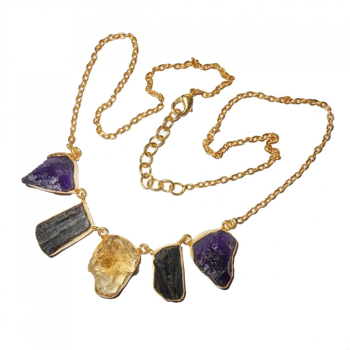 Amethyst, Citrine, Black Tourmaline A - BSN991- Handmade fashion Necklaces with Brass gold plated