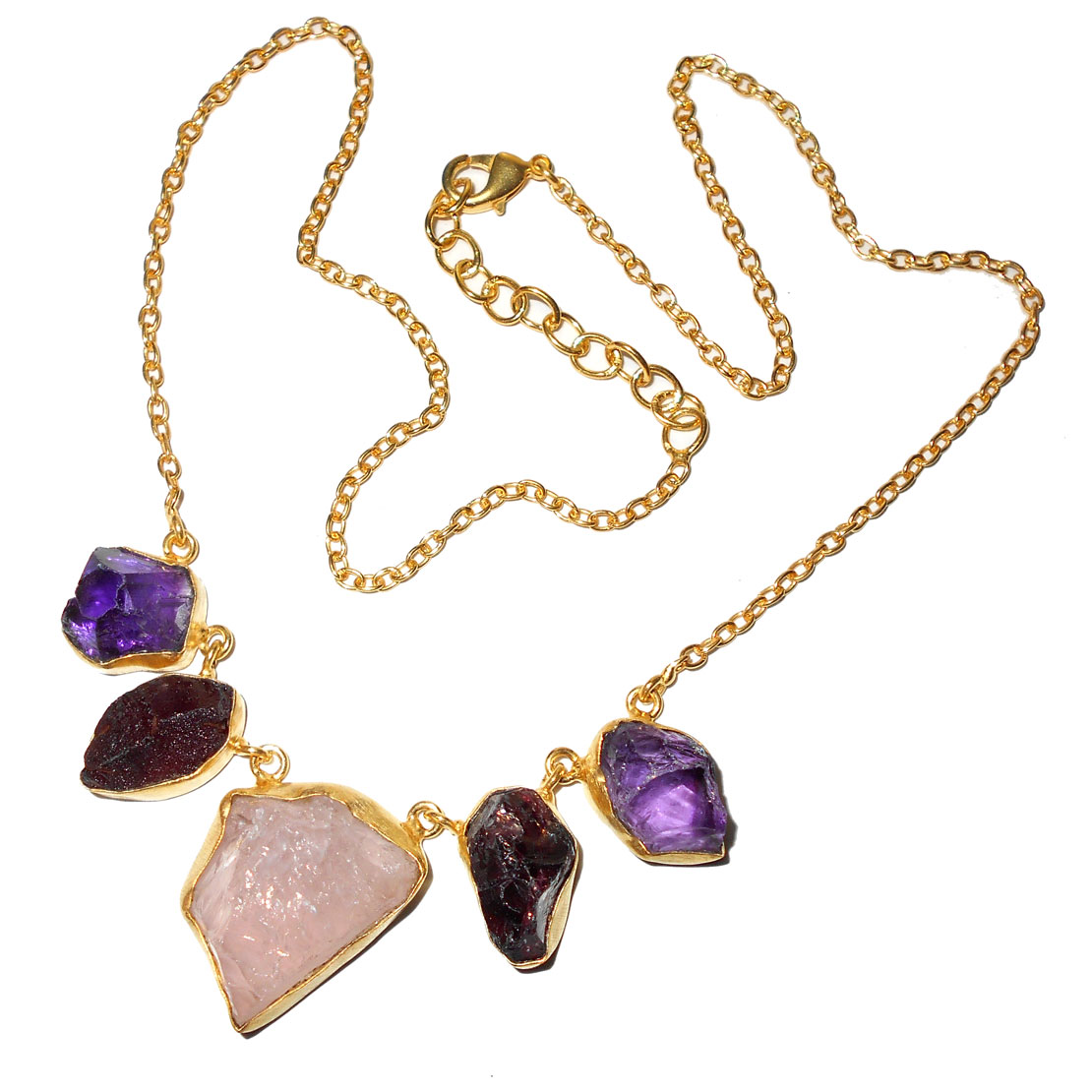 Rose quartz, Amethyst, Garnet B - BSN991- Handmade fashion Necklaces with Brass gold plated