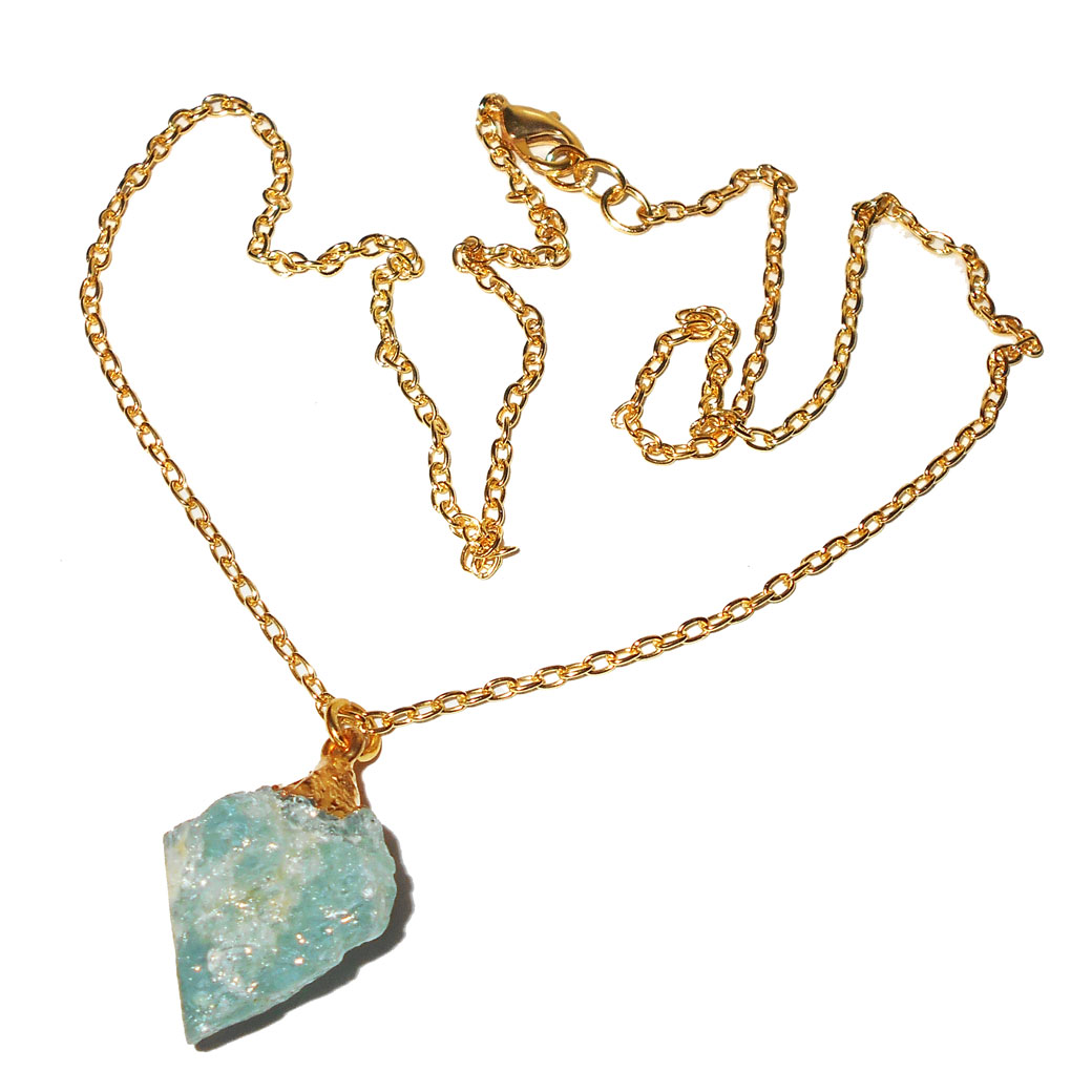 Aquamarine D - BSN990- Contemporary Trendy fashion necklaces with Raw gemstone