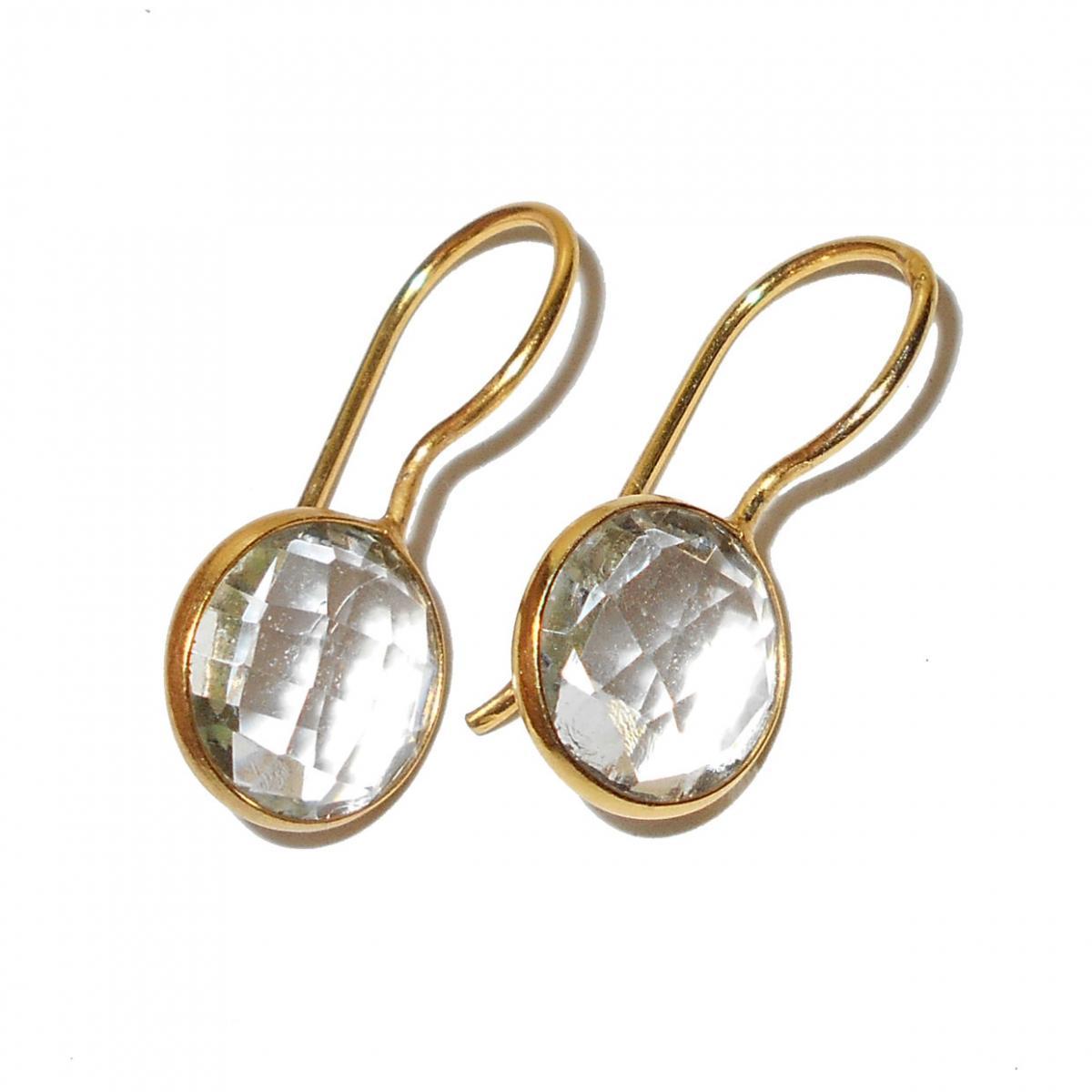 Crystal Quartz Cut B Bjs933 Fashion Style Bezel Setting Gold Vermeil Earrings With