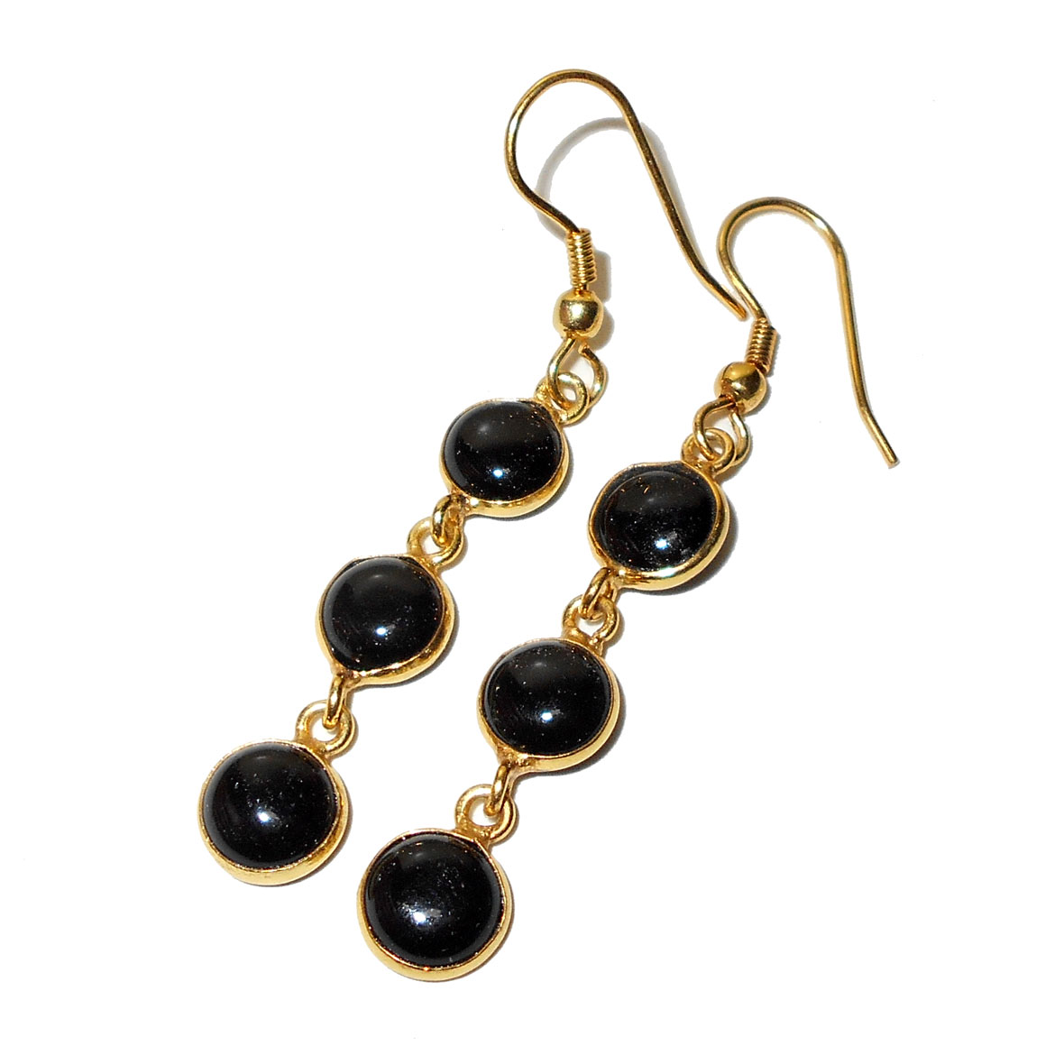 Black Onyx Cab F Bjs923 Glamour Fashion Earrings Gold Vermeil Costume