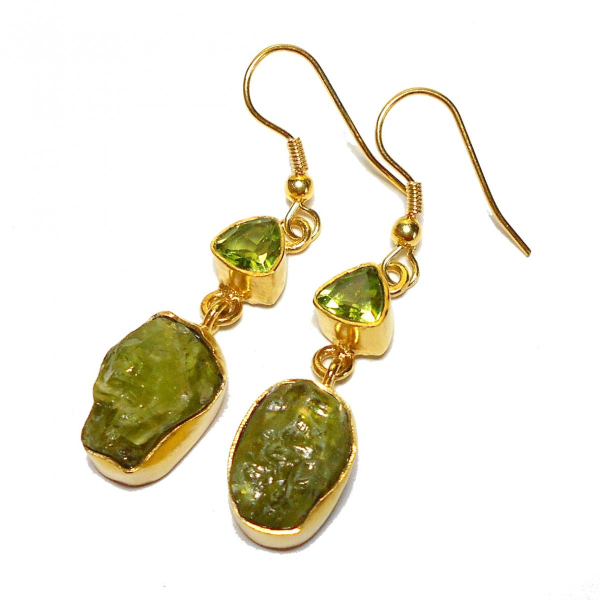 Peridot cut 7 Rough A - RBE969- Color gemstone fashion Earrings, Rock style fashion jewe