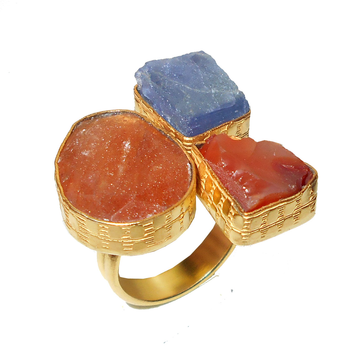 Bio Rutile Tanzanite Carnelian D Rbr932 Chunky Style Fashion Ring Raw Gemstone Rings Wholesale