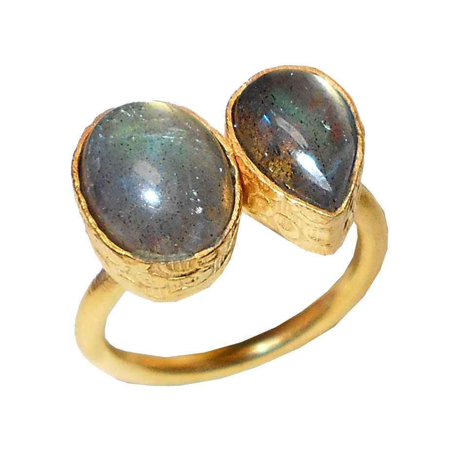 Labradorite C - PR982- Costume fashion Brass gold plated wholesale Rings collect