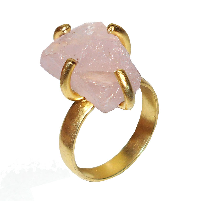 Rose quartz F - RBR915- Prong Setting Raw gemstone Rings with gold vermeil over