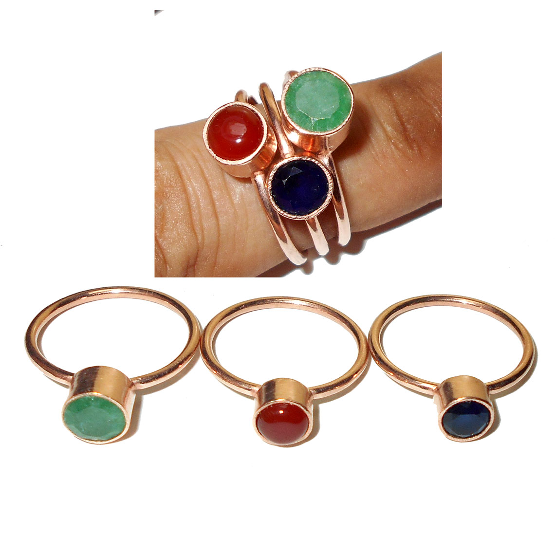 plain brass c p cut in gemstone rings made corundum blue