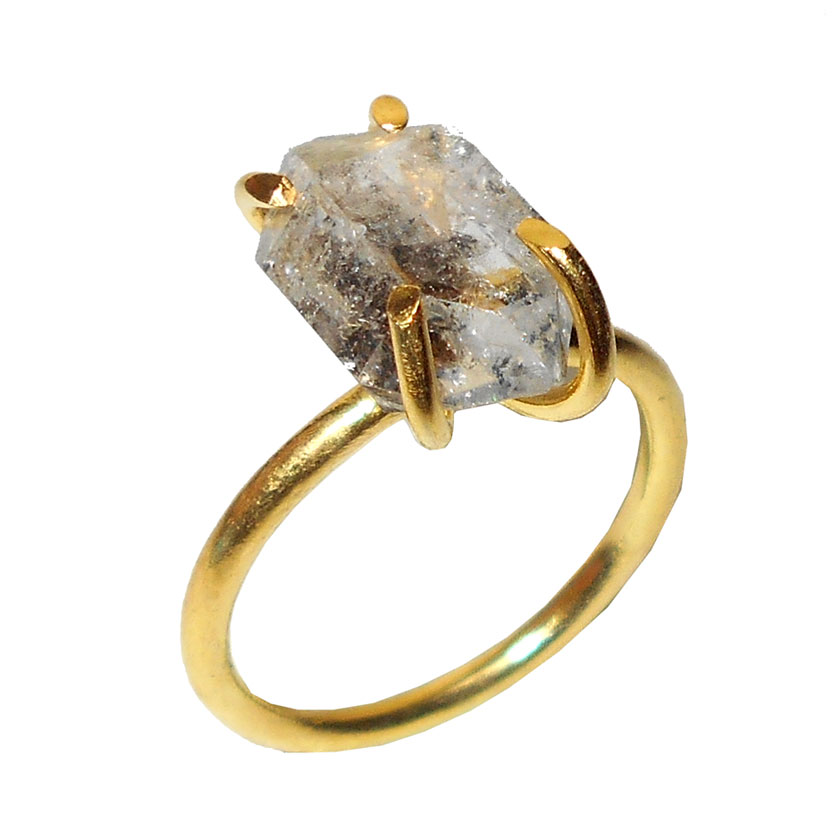 Herkimer Diamond O - RBR912- Prong Setting gold vermeil Rings wholesale