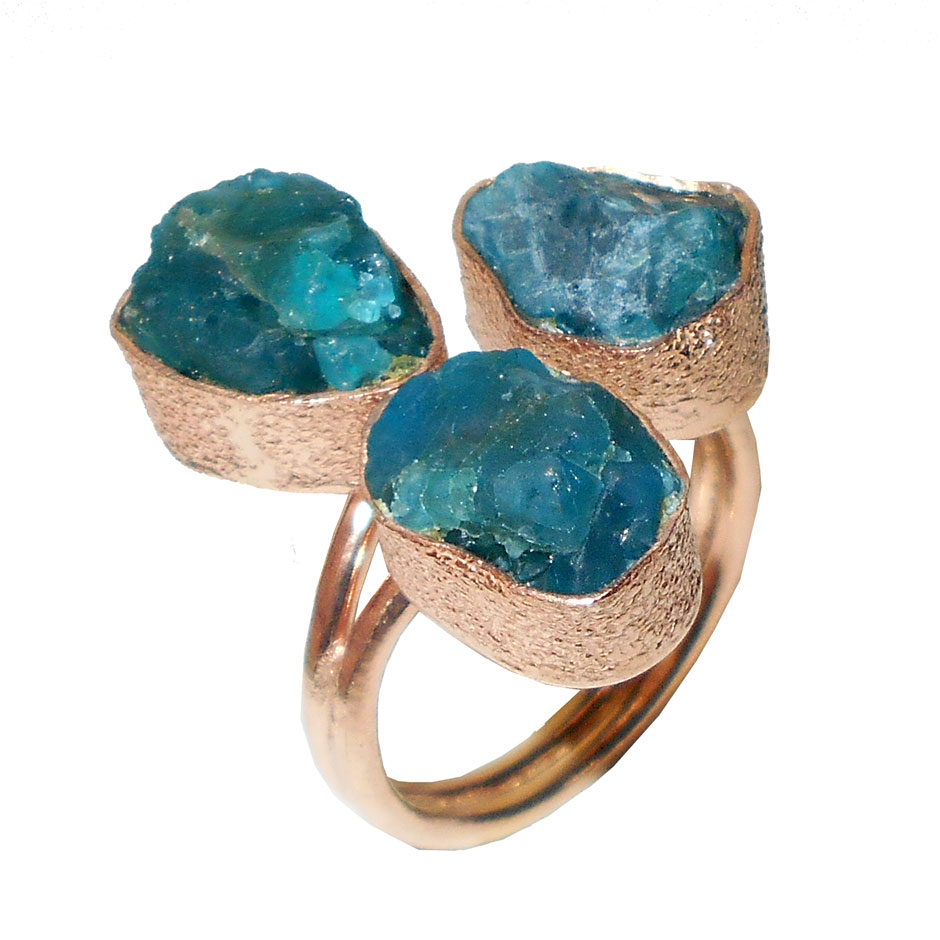 Apatite Blue A - CHR995- Rose gold vermeil fashion style Rings wholesale