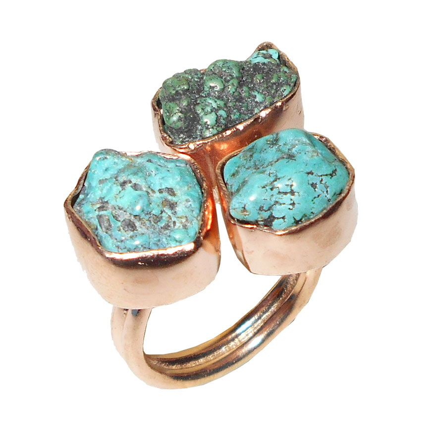 Turquoise Tibet O - CHR993- Rose gold vermeil Raw gemstone fashion Rings wholesale
