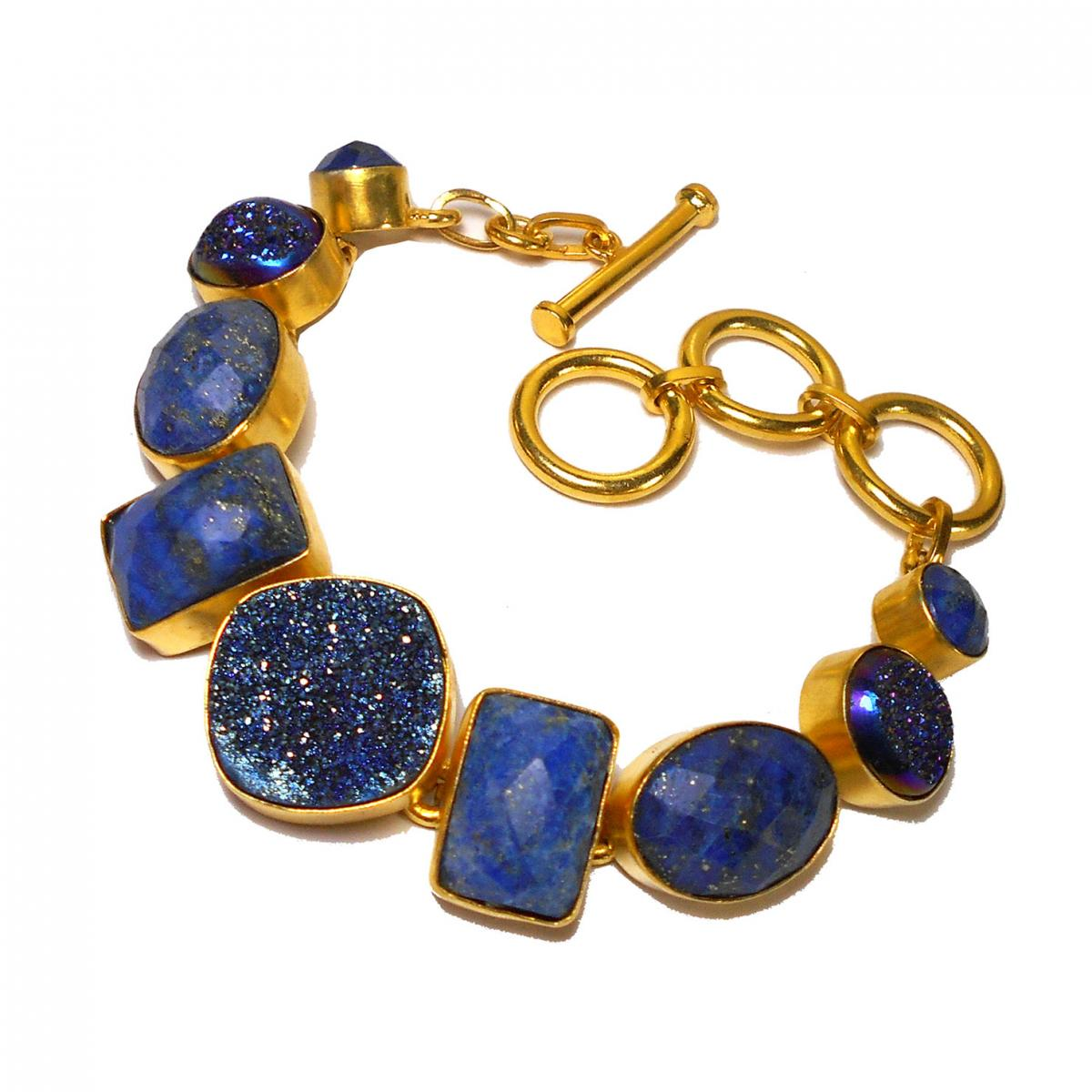 Lapis lazuli, Window drusy D - BSB992- Royal fashion Bracelets with Brass gold plated