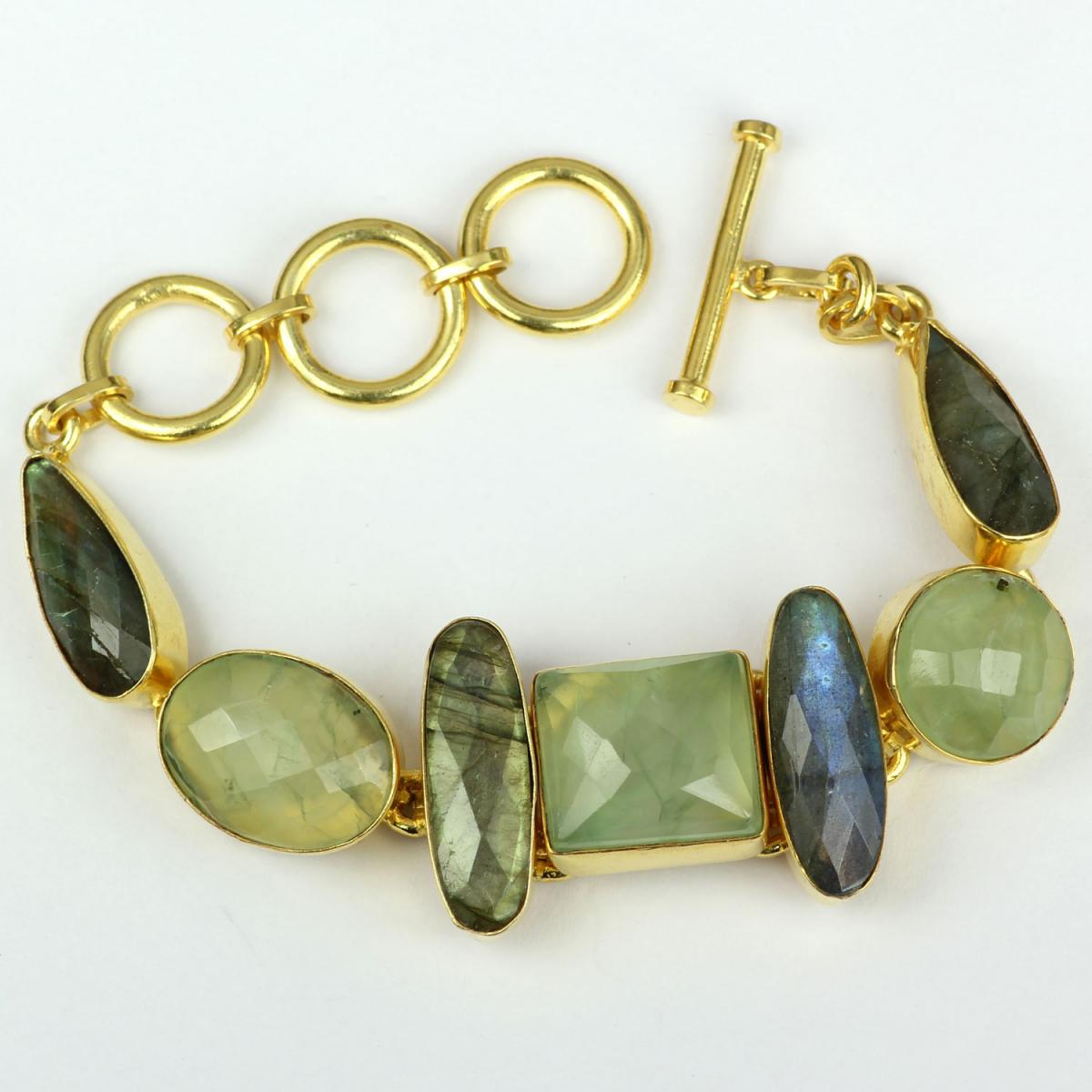 Labradorite And Fluorite F - BSB992- Royal fashion Bracelets with Brass gold plated