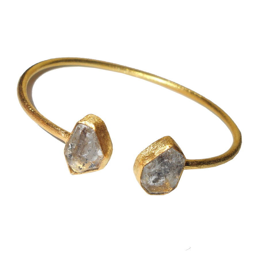 Herkimer diamond O - RBB973- Genuine raw gemstone fashion Bangles wholesale