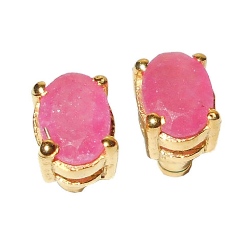 Pink ruby corundum cut I - STD986- 4x6 mm Stud Earrings, Yellow gold vermeil Stud Earrings
