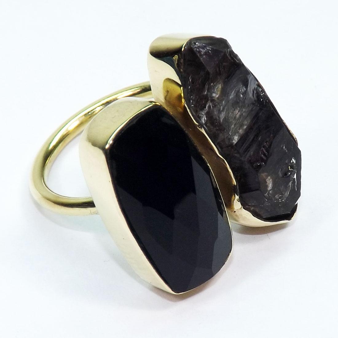 Black Oxidized Brass Adjustable Ring with a 2018mm Raw Herkimer Diamond