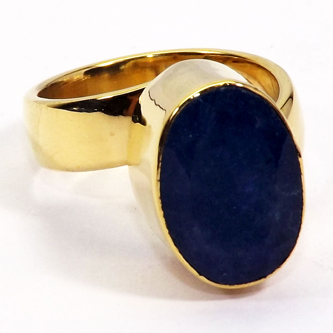 gemstone p rings cut cab sapphire corundum made blue a in plain brass