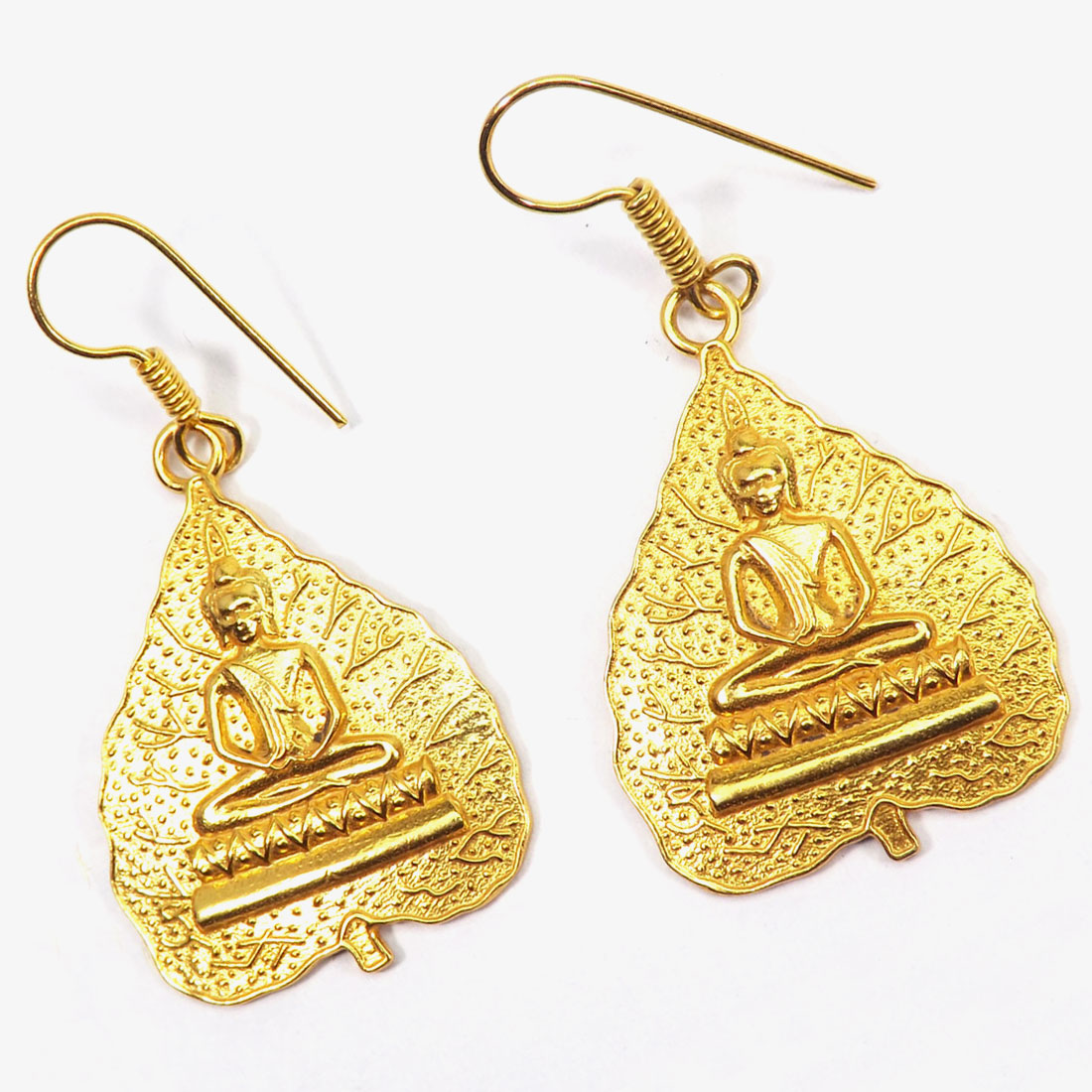 Brass Buddha Earrings C - PBJ996-Religious Made in Brass with Gold Plated Vermeil Buddha E