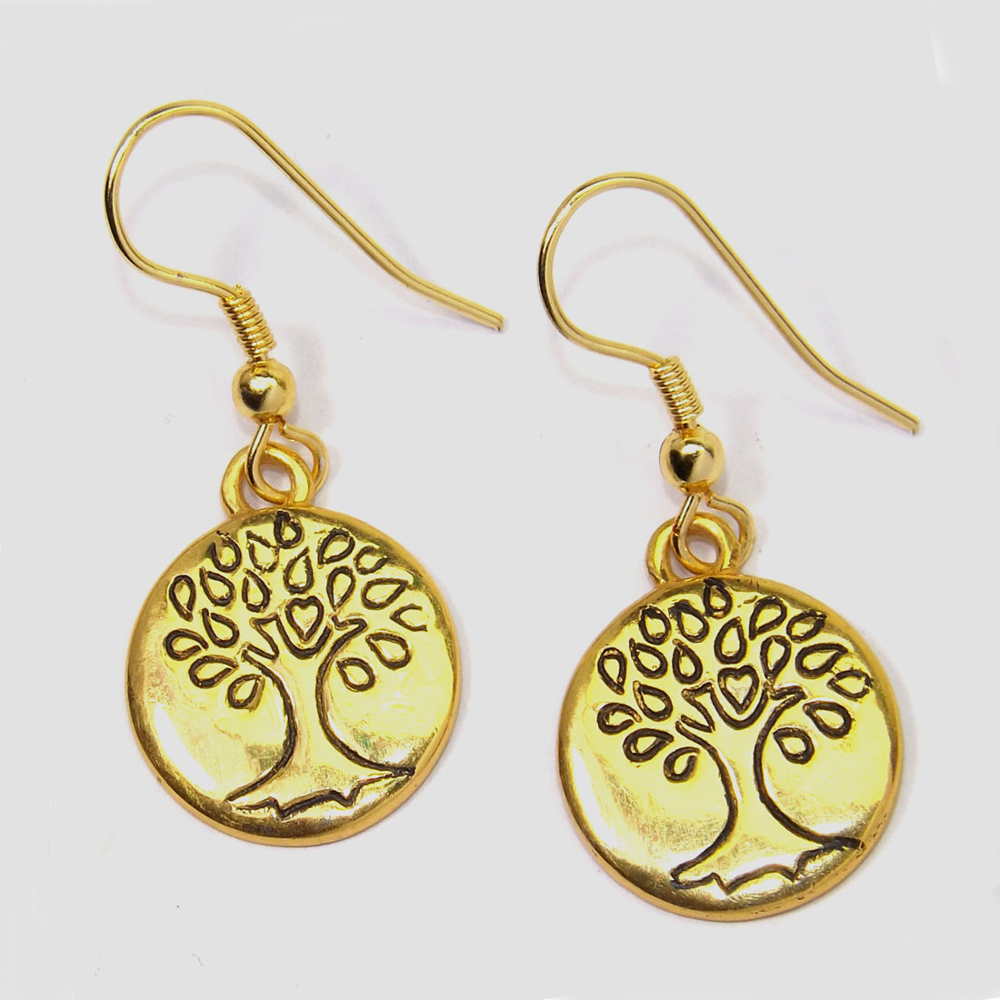 Brass Earrings A - PBJ987-Tree of Life Made in Brass with Gold Plated Vermeil Earr