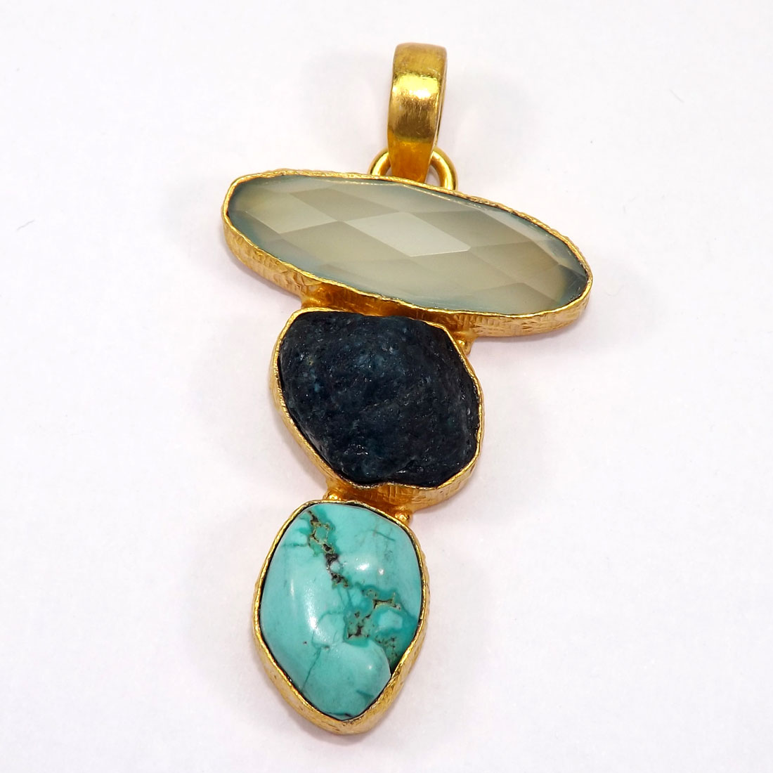 Aqua Apatite and Turquoise O - RBJ919-Gemstone Brass with Gold Plated Vermeil Pendants