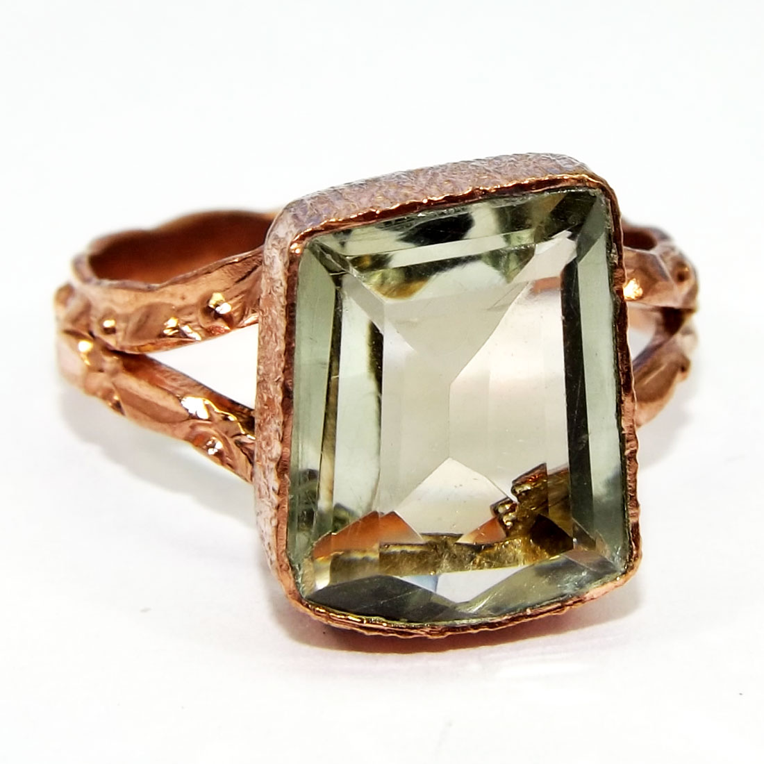 Green Amethyst Fancy Cut B - GR974-Designer Gemstone Rose Gold Plated Brass Rings