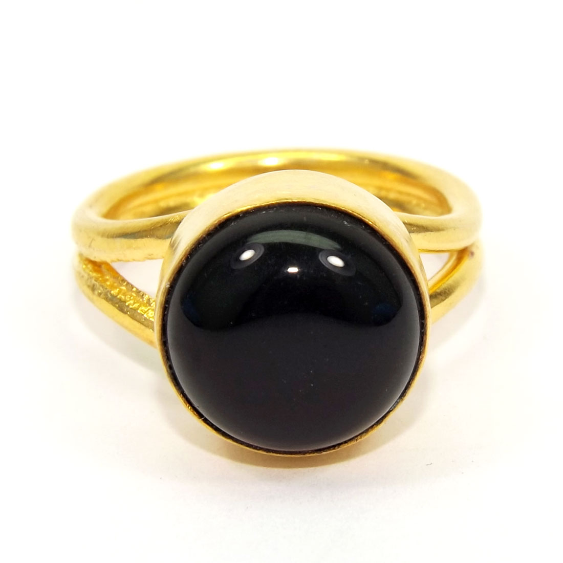 Black Onyx Cab A - PR955-Brass Cabochon Gemstone Plain Rings Women Jewelry