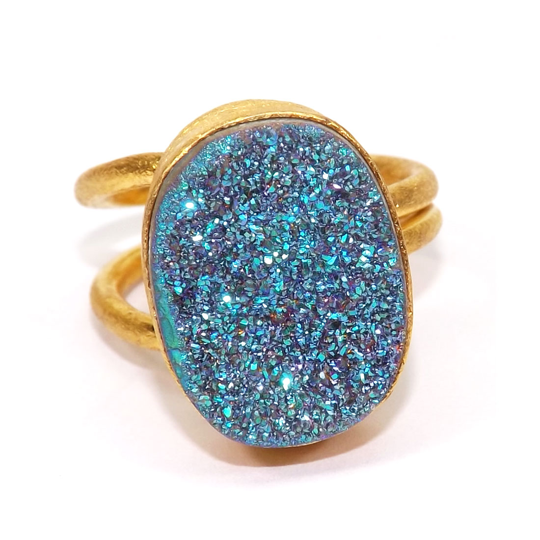 Druzy O - PR954-Supplier of Brass with Gemstone Adjustable Rings
