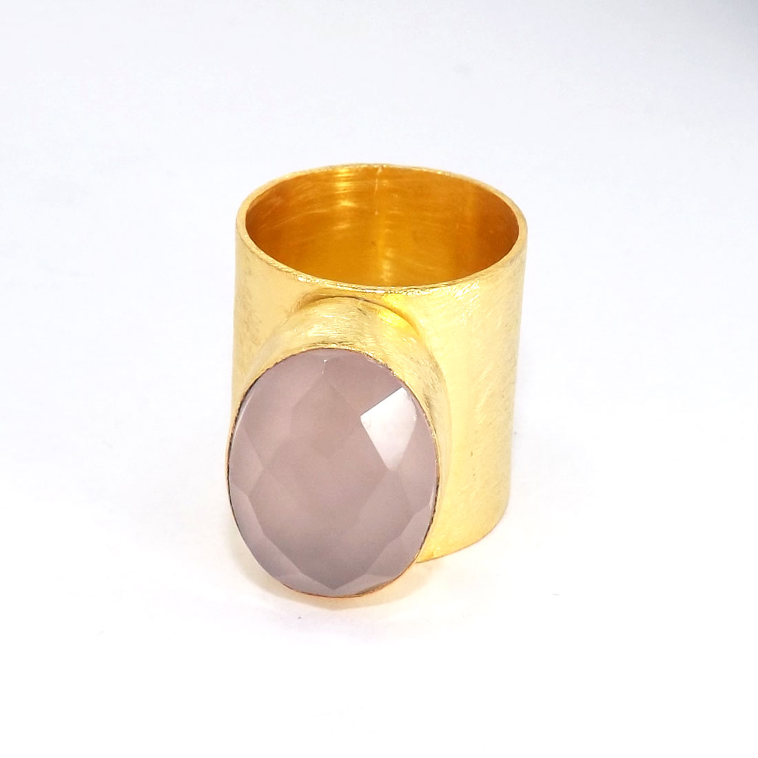 Rose Quartz Cut E - PR953-Handmade Brass with Gold Plated Gemstone Fashion Rings