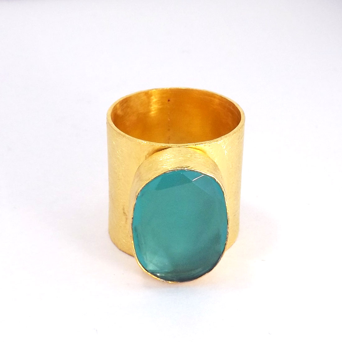Aqua Chalcedony Cut H - PR953-Handmade Brass with Gold Plated Gemstone Fashion Rings