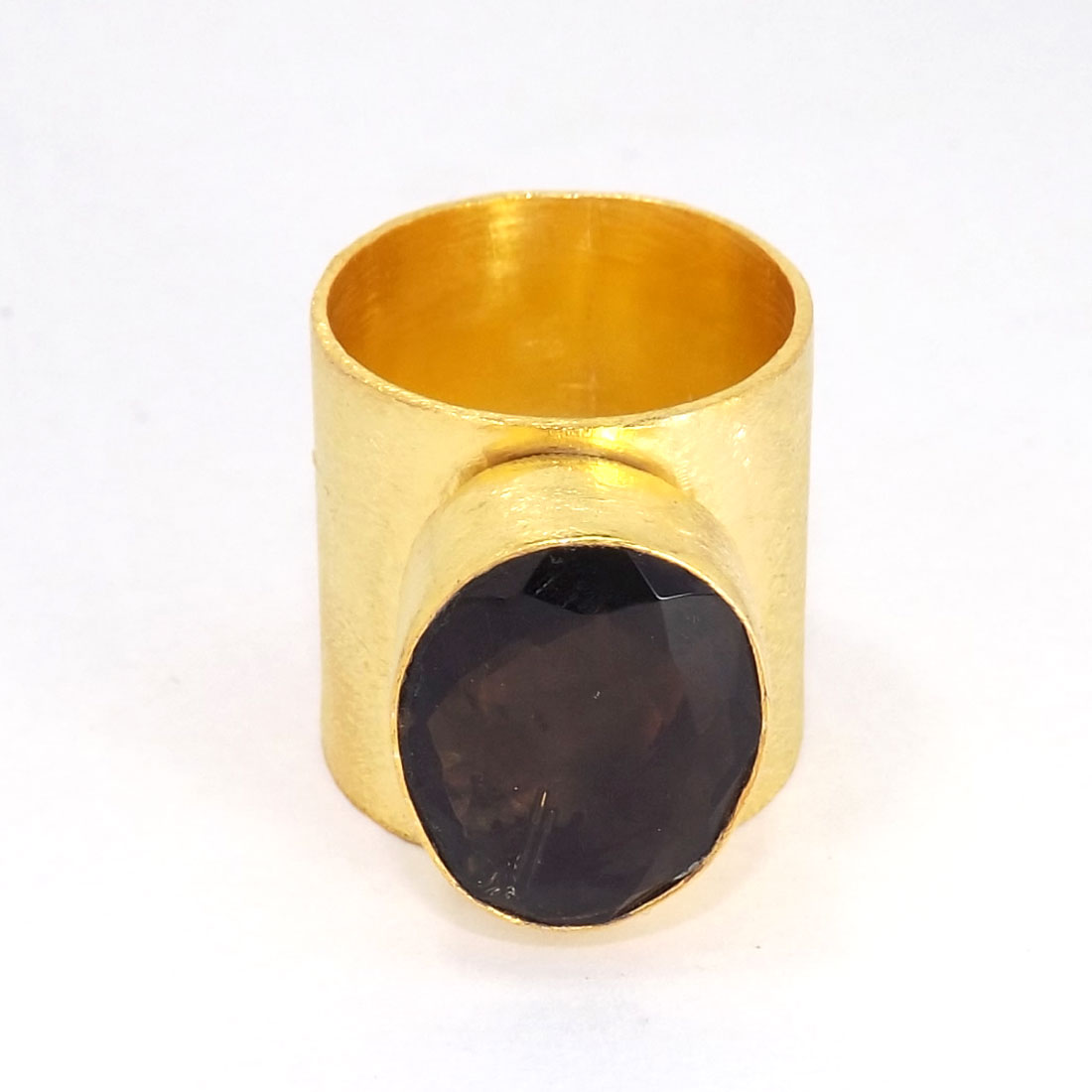 Smokey Quartz Cut I - PR953-Handmade Brass with Gold Plated Gemstone Fashion Rings