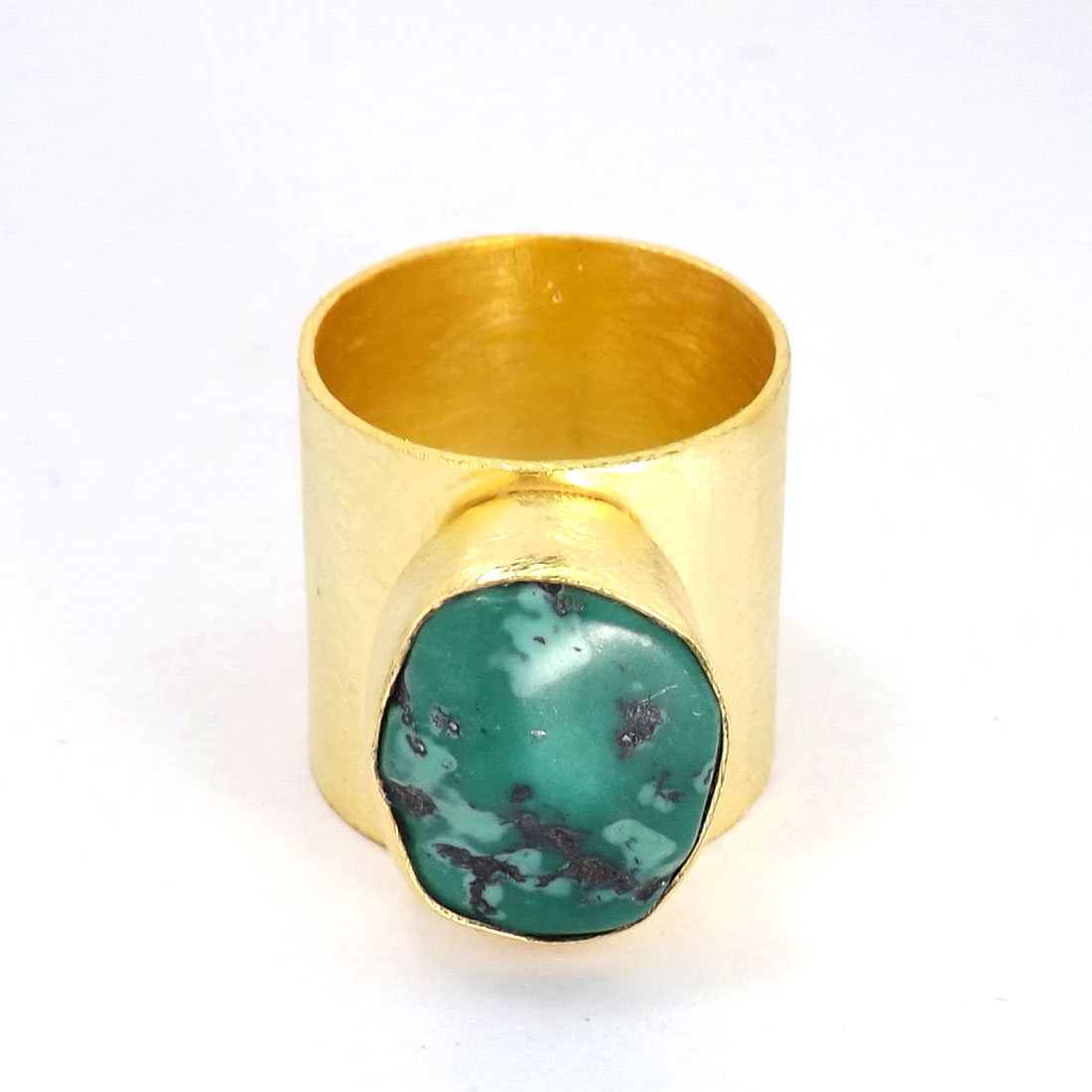 Turquoise Rough O - PR953-Handmade Brass with Gold Plated Gemstone Fashion Rings