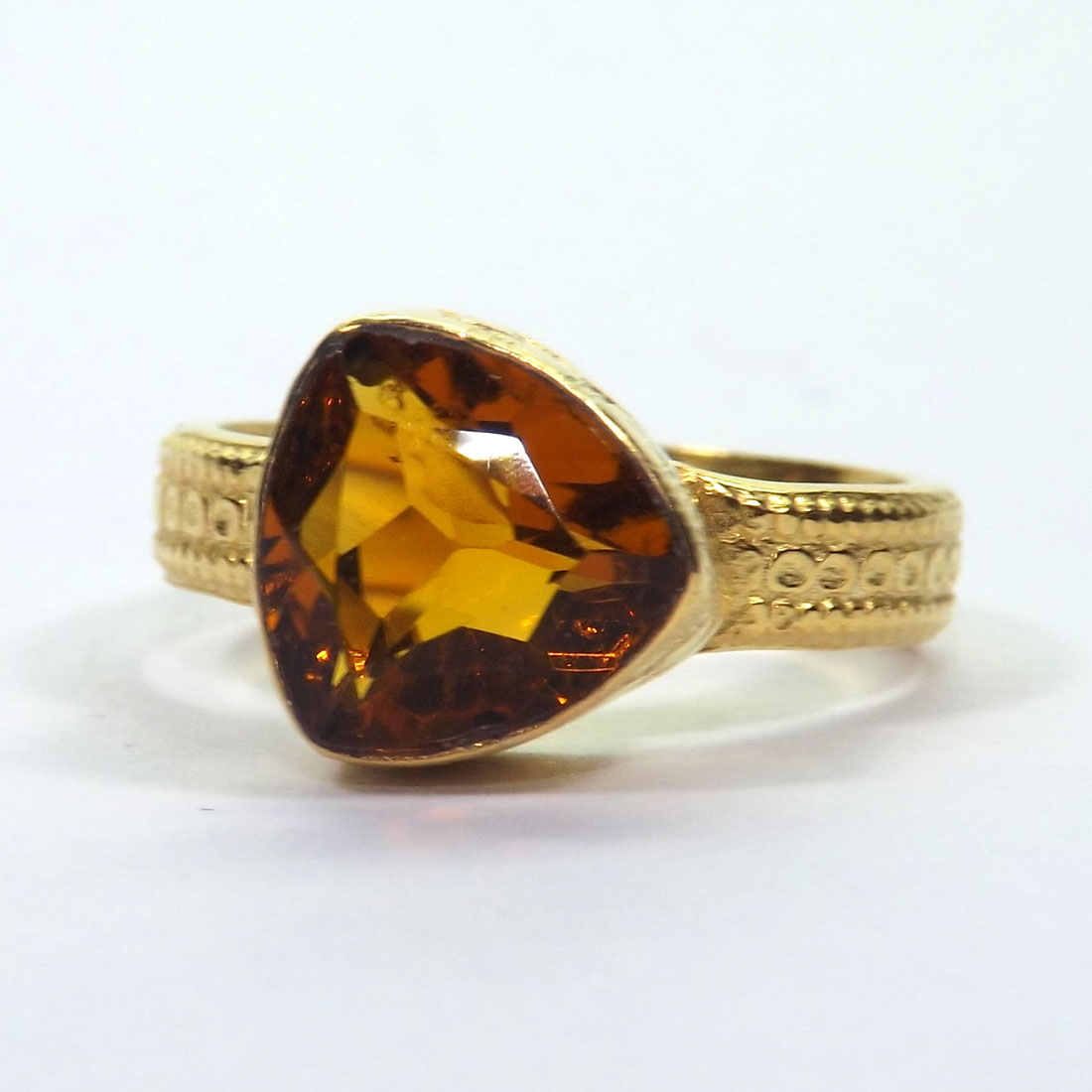 Gemstone Made in Brass Citrine Hydro Glass Ring A - HBR999 Gemstone Made in Brass Citrine Hydro Glass Ring