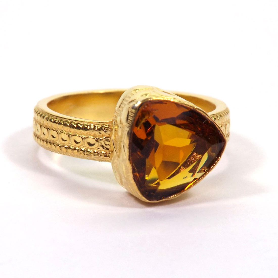 Gemstone Made in Brass Citrine Hydro Glass Ring O - HBR999 Gemstone Made in Brass Citrine Hydro Glass Ring