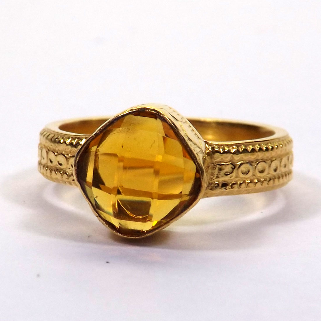 CITRINE HYDRO GLASS A - HBR998 BEAUTIFUL CITRINE HYDRO GLASS HANDMADE BRASS RINGS