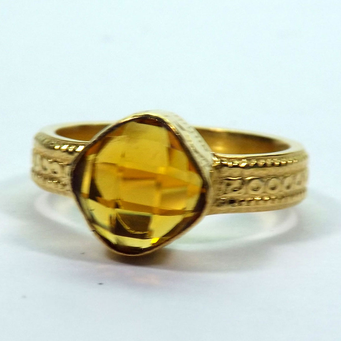CITRINE HYDRO GLASS C - HBR998 BEAUTIFUL CITRINE HYDRO GLASS HANDMADE BRASS RINGS