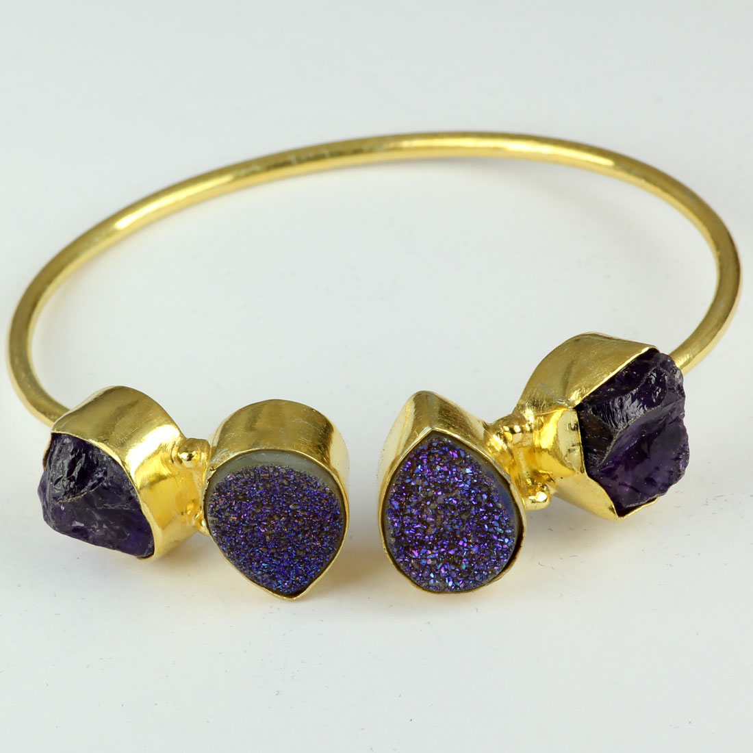 Amethyst Rough and Blue Druzy D - BN966-Fashionable Wholesale Handmade Mix Stones Brass Bracelets