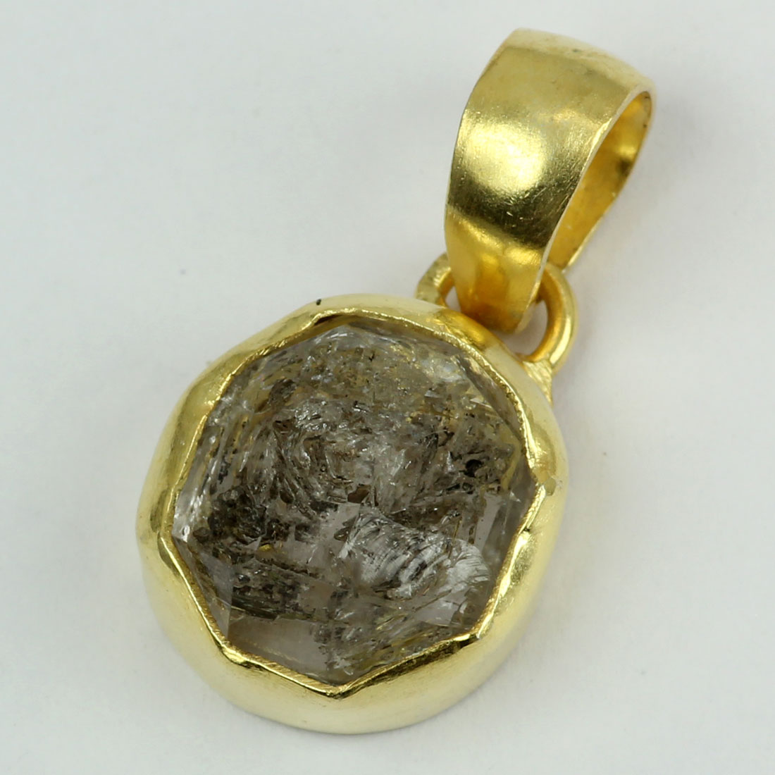 Herkimer Diamond B - RBJ905-Factory Handmade Designs Gemstones In Rough Brass Pendent