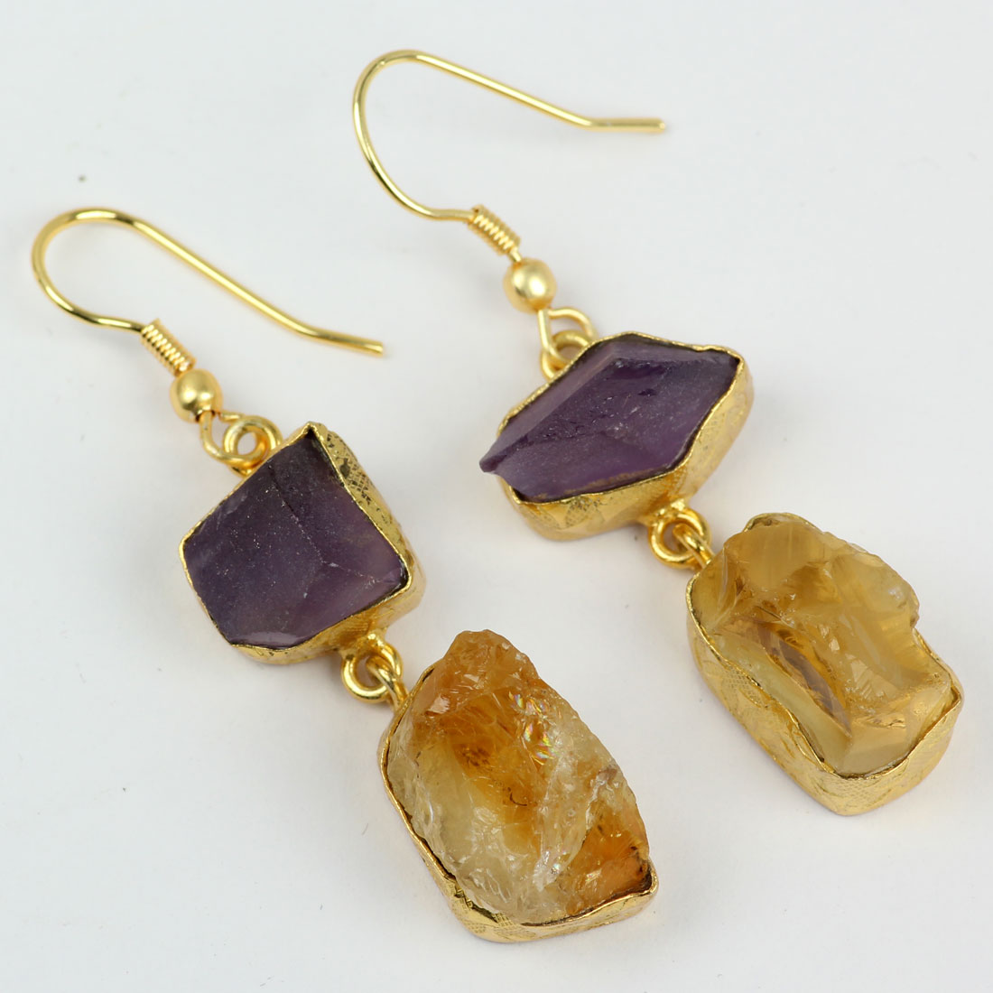 Amethyst And Citrine Rough A - PBE973-Stunning Design With Gold Plated Rough Brass Earrings
